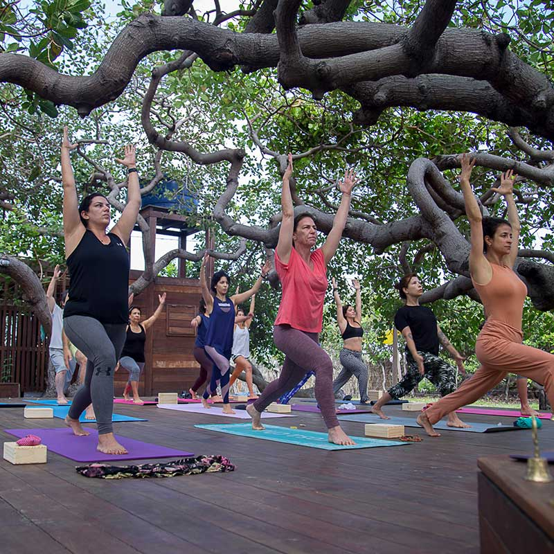 A group of people doing yoga at a yoga retreat in Convento Arcadia