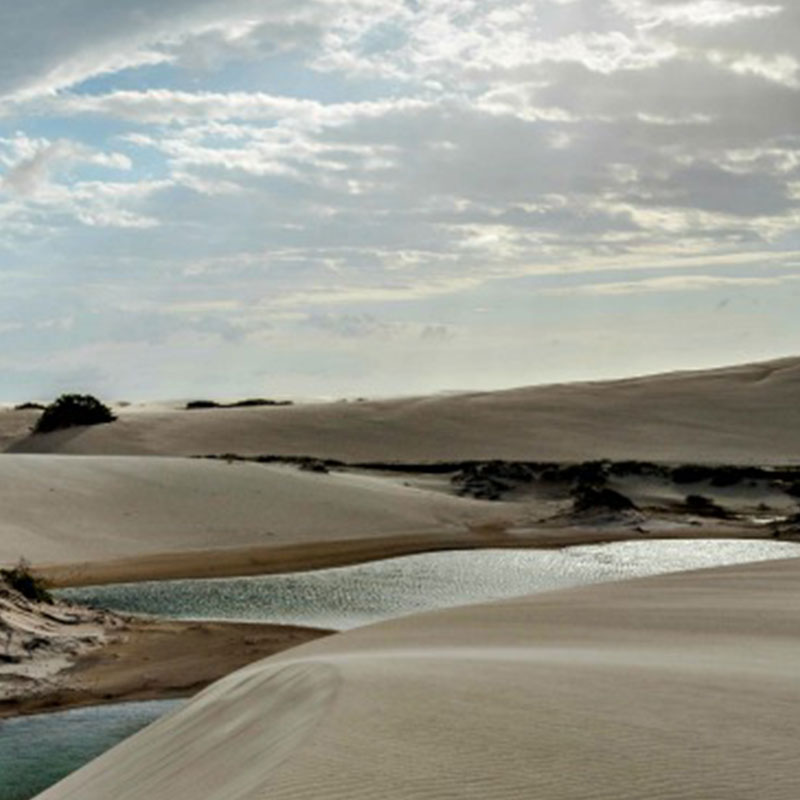 A view of the lagoons among the sand dunes in Lençóis Maranhenses