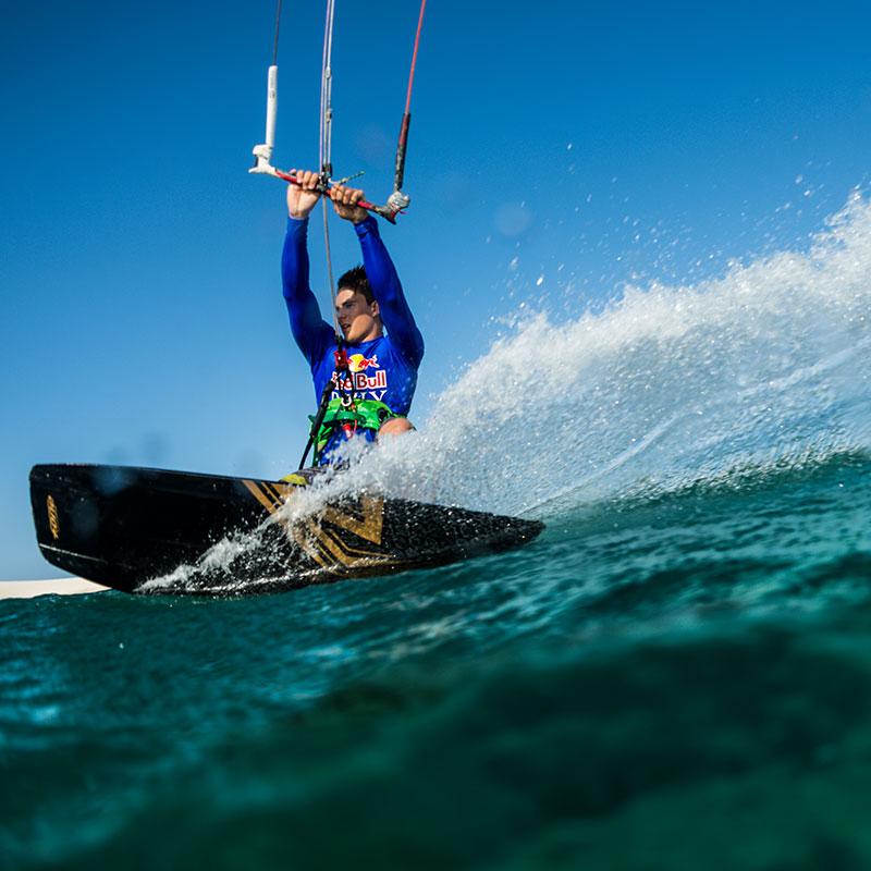A man kite surfing in Atins