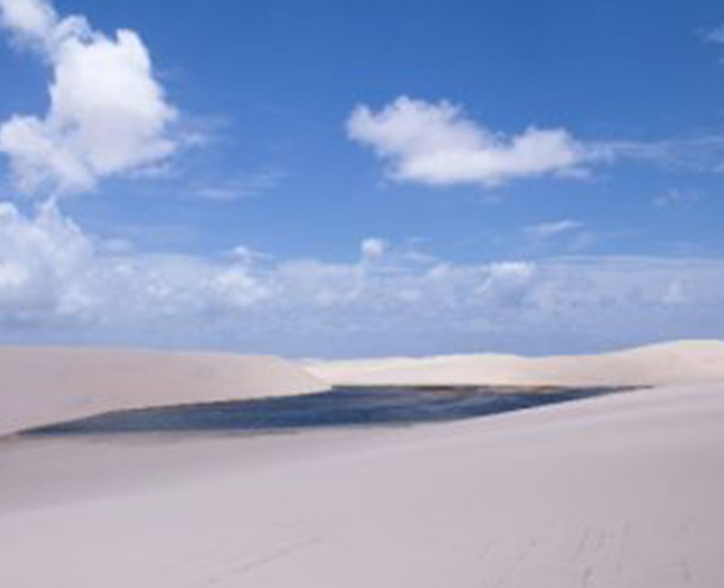 A view of a lake on the sand dunes of Atins, Brazil