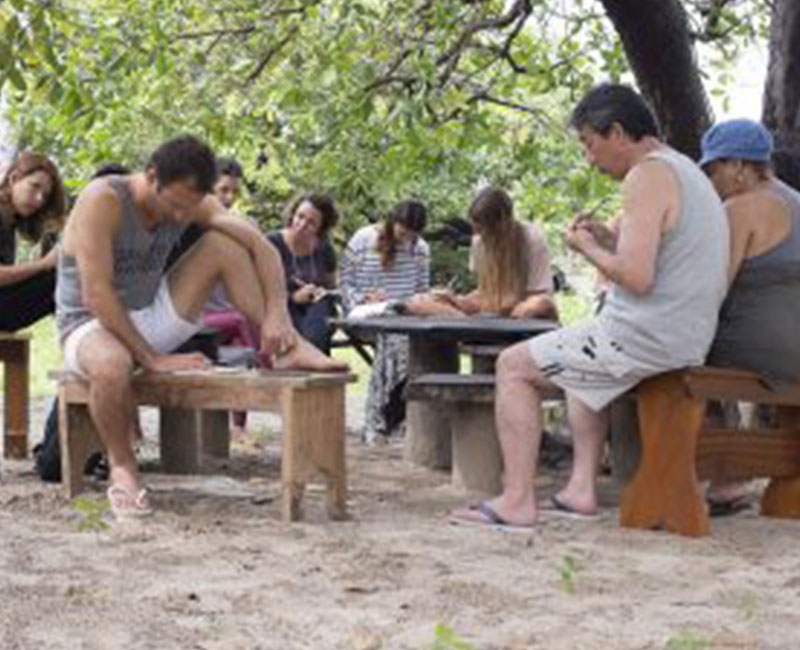 A group of people journaling