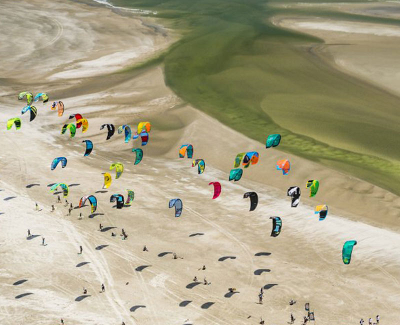 Top view of a group of kite surfers
