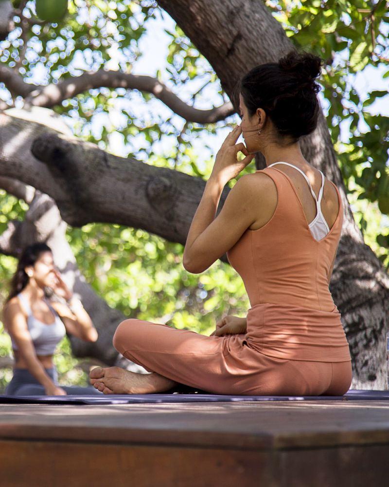 Yoga and meditating