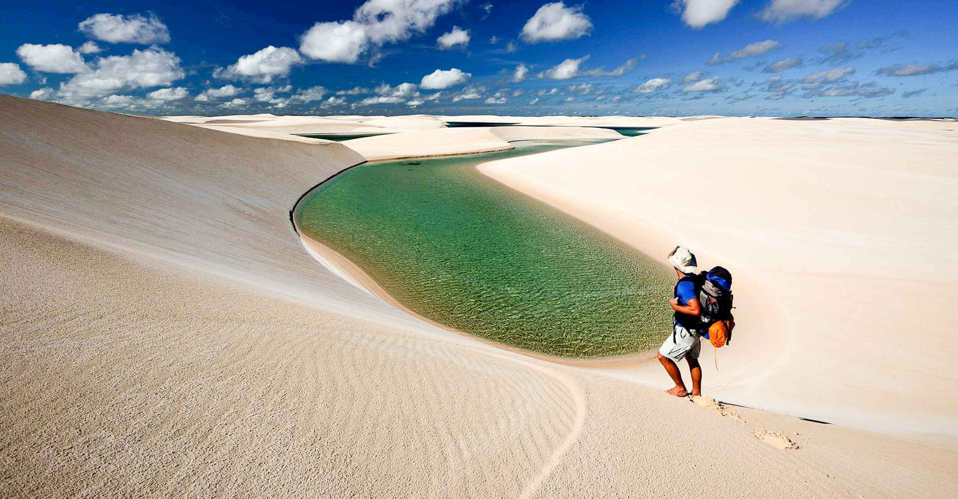 A man enjoying the scenery of the sand dunes in Atins