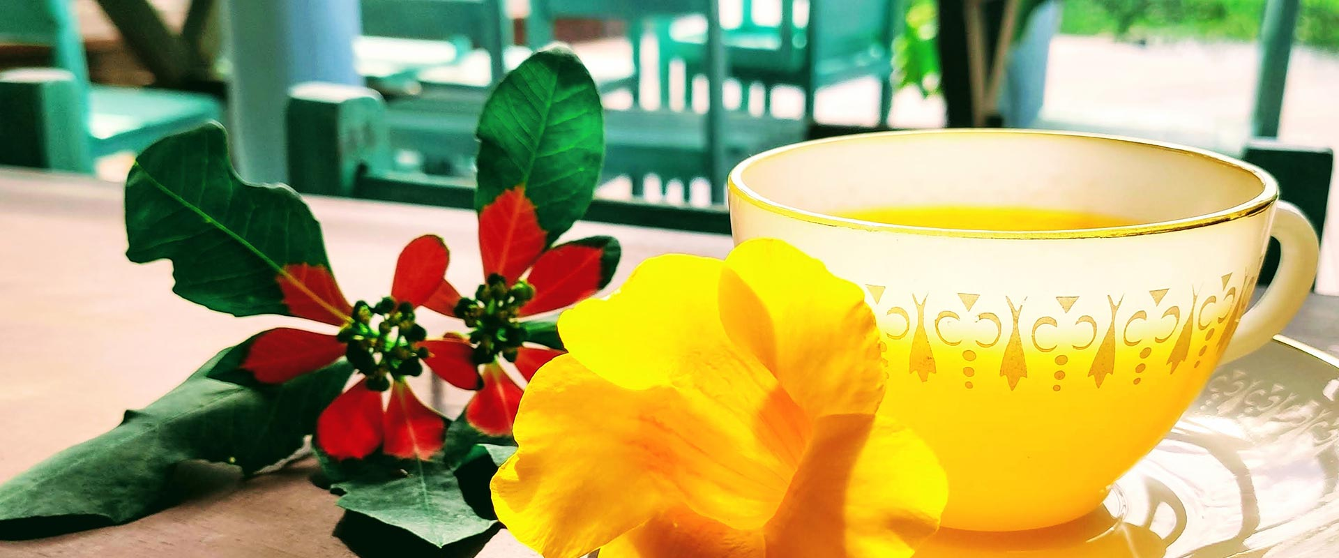 cup of tea with flower