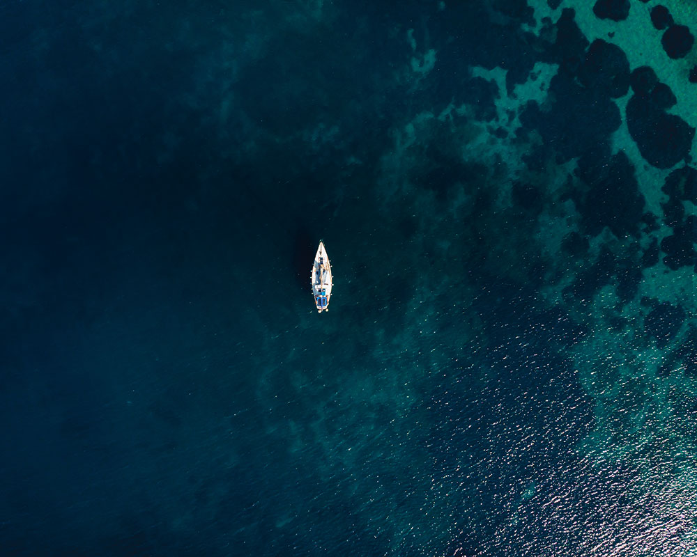 surfing in the blue ocean