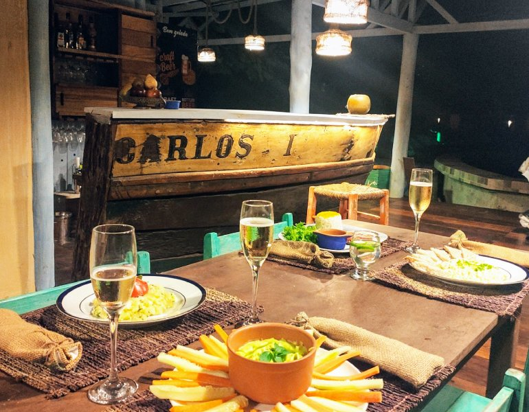 Bar and dinner table with food