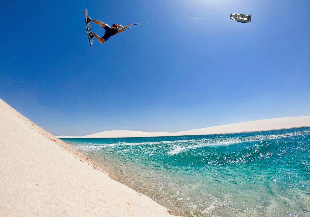 kite surfing and blue beach