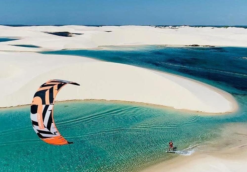 kite surfing at blue beaches