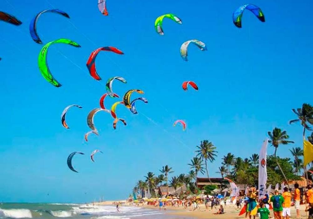 several parachutes in the air