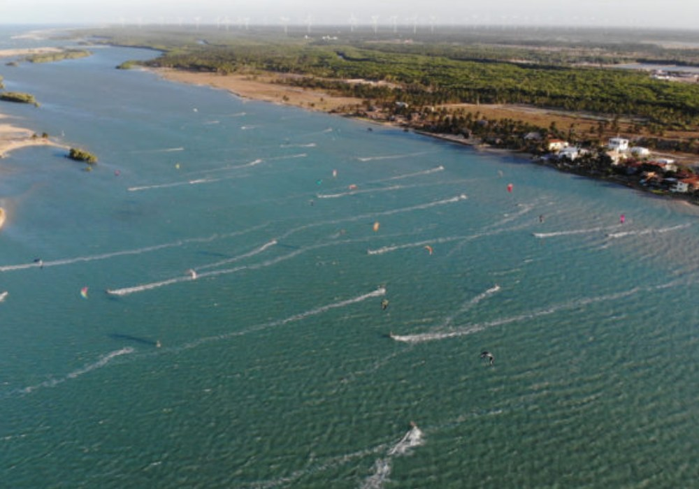 ariel view of people kite surfing