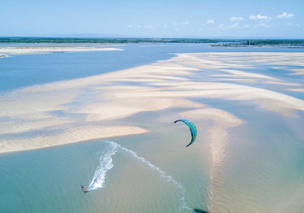 wind surfing at beach