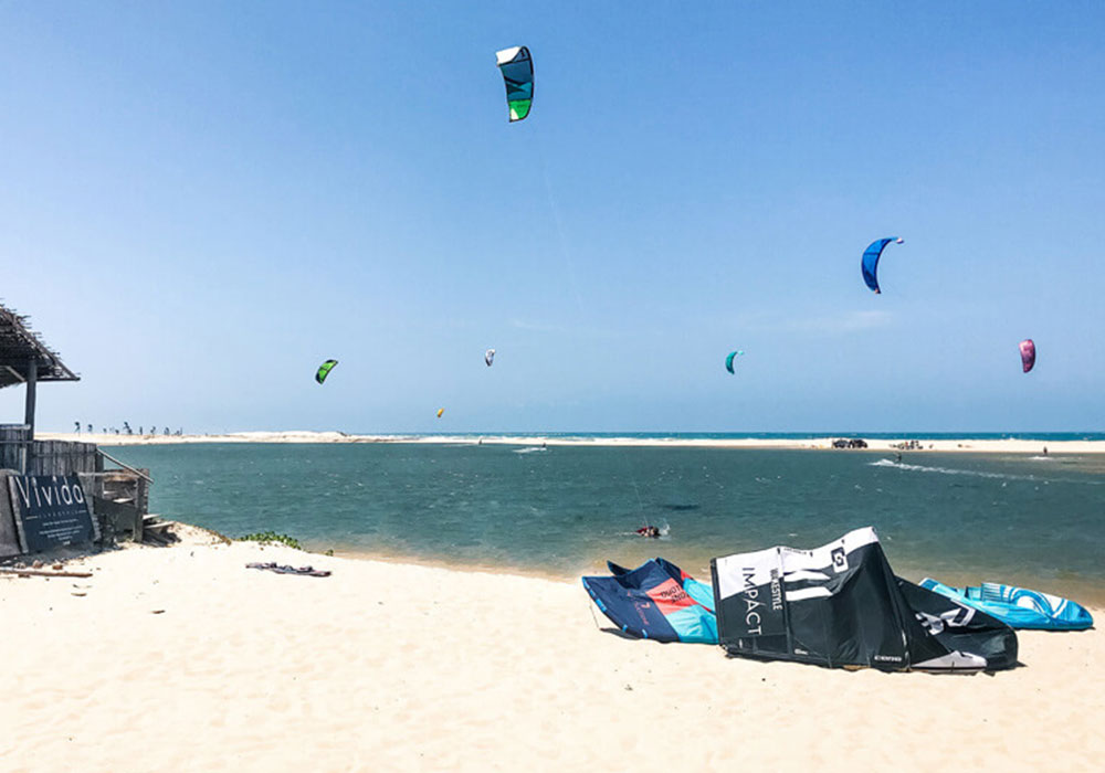 kite surfing at beach