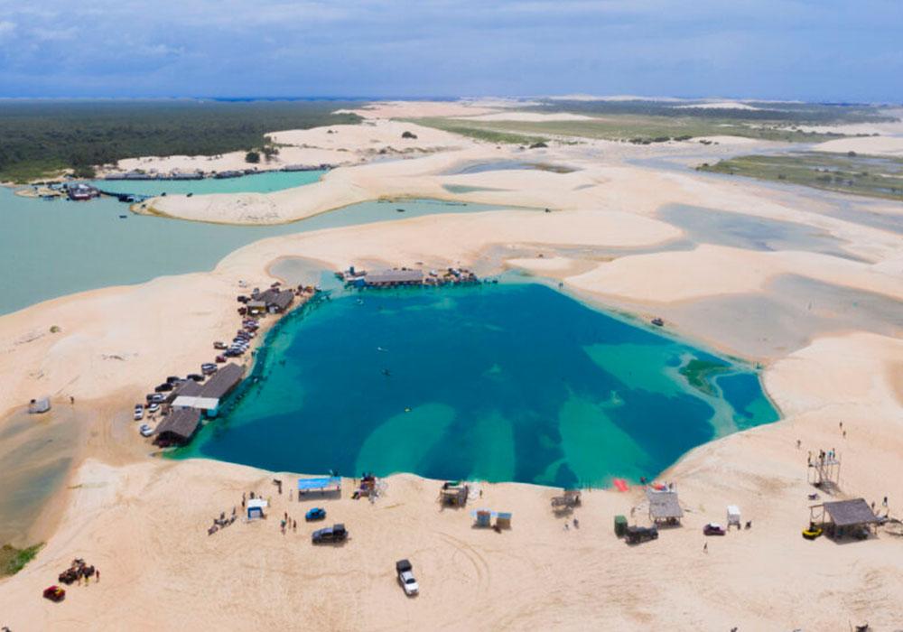 blue lagoon with sandy area